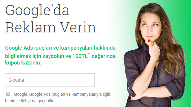 Ücretsiz Google Adwords kupon kodu talep etme